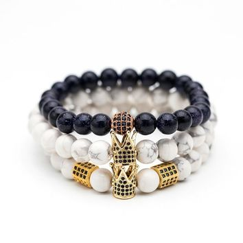 Black & White Natural stone Bead Men's bracelets High quality Crystal Crown Natural stone Bracelets for men Fashion Jewellery
