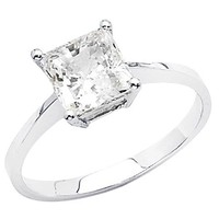 14K White Gold Princess-cut 1.25 CT Equivalent CZ Cubic Zirconia Ladies Solitaire Wedding Engagement Ring Band - Size 7