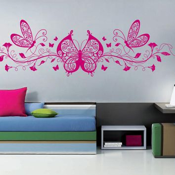 ik1145 Wall Decal Sticker Butterfly Flowers Monogram room children's bedroom