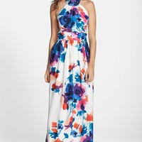 Women's Eliza J Floral Print Halter Maxi Dress