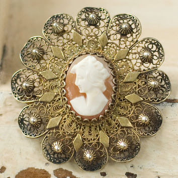 Shell Cameo Silver Pin Brooch by My3Chicks on Etsy