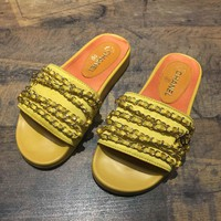 Chanel 2017 Tropiconic Slide Sandals yellow