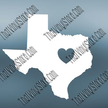 Texas Heart Home Decal | I Love Texas  Decal | Homestate Decals | Love Sticker | Love Decal  | Car Decal | Car Sticker| 502