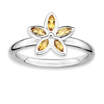 Silver Stackable 1/3 Cttw Citrine Flower Ring