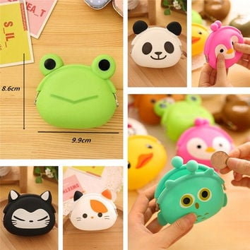 Cute Animals Women Silicone Coin Purse Japanese Candy Color Jelly Silicone Coin bag Mini key Wallet = 1958745092