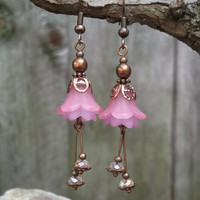 Pink Petals handmade Lucite flower dangle copper earrings for women, Splendid fashionable jewelry for any occasion