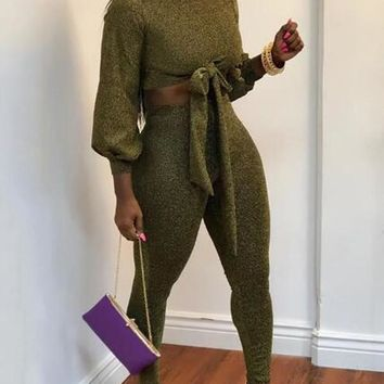 New Green Bright Wire Sashes Bowknot Sparkly Two Piece Casual Long Jumpsuit