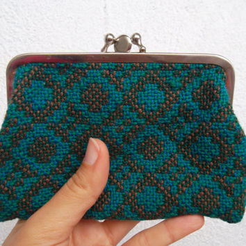 80s Olive Green,Turquoise Brown, Geometric Coin Holder, Fabric Pouch, Money Wallet, Metal Frame, Kiss Lock Purse, Change Purse, Small Clutch
