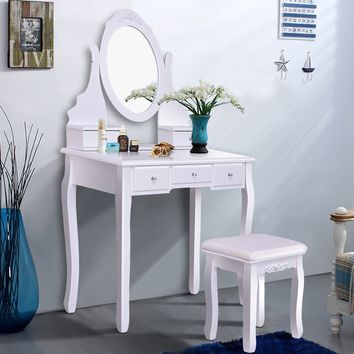 Mirrored Jewelry Wooden Vanity Table Set w/ 5 Drawers Come and have a look at this glamorous dressing table set! It will be fantastic furniture that help you realize your princess dream.