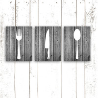 Kitchen Art Prints, Rustic Wood Kitchen Decor, Silverware Prints, Fork, Spoon and Knife, Set of Three