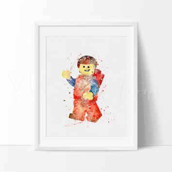 Lego Man Watercolor Art Print