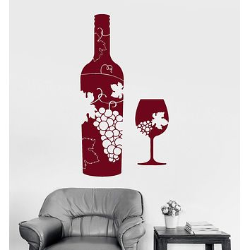 Vinyl Wall Decal Wine Bottle Glass Grapes Bar Alcohol Stickers Mural Unique Gift (ig4173)