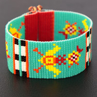 Kitschy Rooster Bead Loom Cuff Bracelet - Quirky Animals Jewelry - Native American Style - Boho -Funny- Turquoise -Beadweaving - Beaded Folk