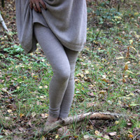 Alpaca pants - knitted women leggings - knit light beige, gray, navy, black, white trousers - wool skiny pants