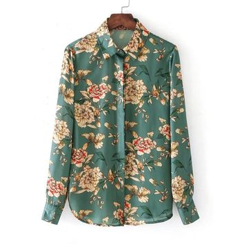 Button Up Floral Blouse