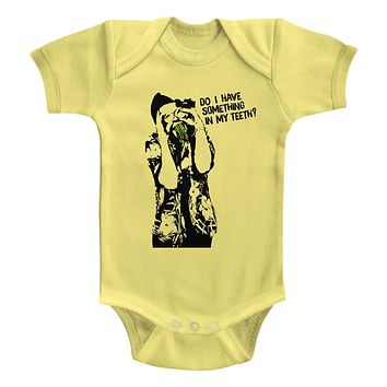 Ace Ventura Infant Bodysuit Do I Have Something In My Teeth Yellow Romper