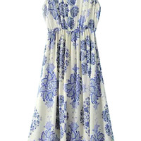 Floral High Waist Sleeveless Midi Dress