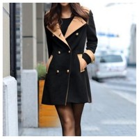 Double Breasted Color Block Jacket in Black