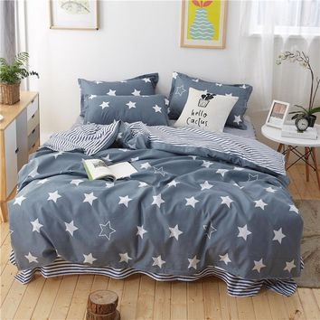 Cool Home Bedding Sets White gray Star Plaid Twin/full/queen/king size Duvet Cover Sheet Pillowcase Bed Linen children boy bedclothesAT_93_12