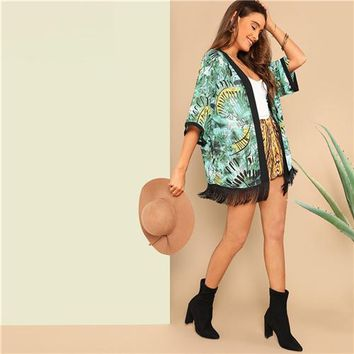 SHEIN Boho Beach Green Fringe Detail Solid Trim Tropical Print Kimono Cardigan Women Spring Summer Casual Vacation Kimonos