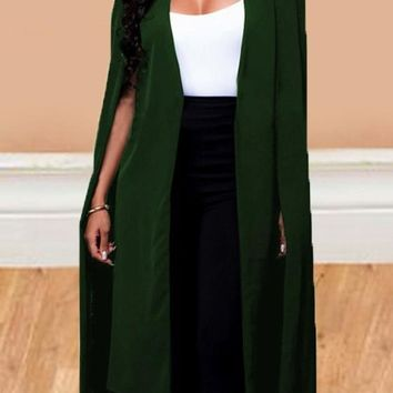 Army Green Irregular Long Sleeve Fashion Office Worker Cape Coat