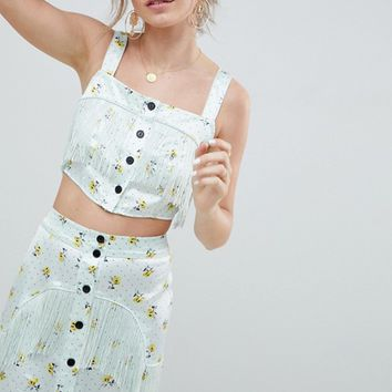 ASOS DESIGN satin crop top with fringe detail in ditsy print two-piece at asos.com