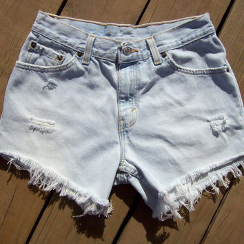 Distressed High Waisted Shorts Size 5 by DenimAndStuds on Etsy
