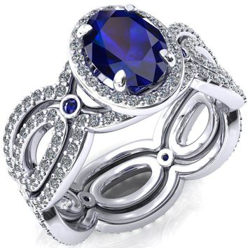 Polaris Oval Lab-Created Blue Sapphire Diamond Halo Full Eternity Blue Sapphire Bezel Diamond Accent Ring