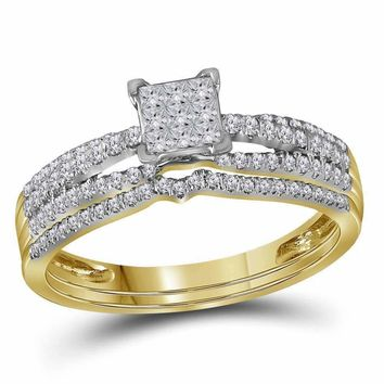 14kt Yellow Gold Women's Princess Diamond Cluster Bridal Wedding Engagement Ring Band Set 1-2 Cttw - FREE Shipping (US/CAN)