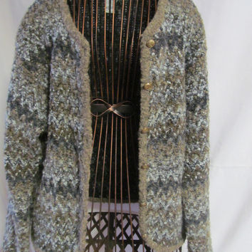 Chevron Popcorn Cardigan Slate Blue and Grey Woman Size Large Cardigan Sweater
