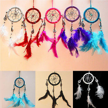 1PC Handmade Dream Catcher Net With feathers Hanging Decoration Craft Gift CC6