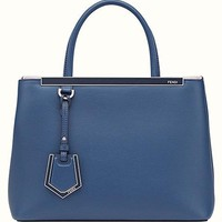 Fendi women's leather handbag shopping bag purse petite 2jours blu
