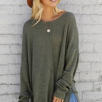 Oversized V-Neck Sweater  - Olive