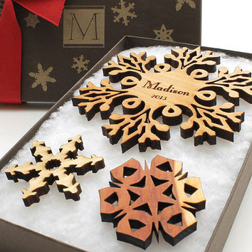 USA Made Personalized Snowflake Ornament - Laser Cut Sustainable Harvest Wisconsin Wood . Monogram Gift Box - Timber Green Woods