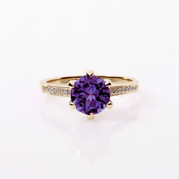 Amethyst ring, Yellow gold, Diamonds, engagement ring, purple, solitaire, gold engagement, unique ring, wedding ring, custom, deep purple
