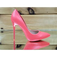 "Fabio Fuchsia Matte (Coral) 4.5"" High Heel Shoes Pointy Toe Pump 6-10"