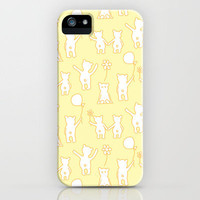 Happy Teddies / Pastel Yellow iPhone Case by Anita Ivancenko | Society6