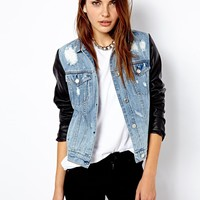 Mango Leather Look Sleeve Denim Jacket