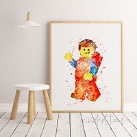 Emmet, Lego Man Watercolor Art Print