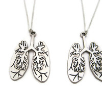 Human Lungs Necklace Set Science Necklace Biology Necklace Anatomical Necklace Anatomy Necklace Lungs Jewelry Anatomy Jewelry Biology Gift