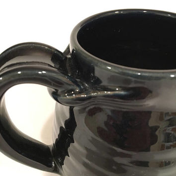 Extra Large Black Handmade Coffee Mug, Black Coffee Mug, Pottery Mug CMAG17BLK3 21 OZ