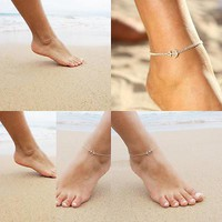 2Pcs Romantic Simple Elegant Anklet Bracelet Unique Pretty Women Beach Anchor