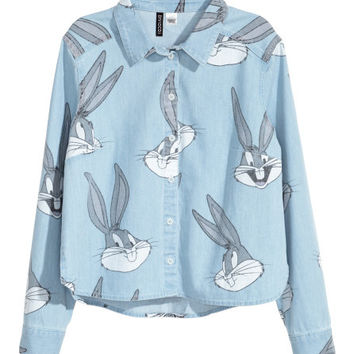 Patterned Denim Shirt - from H&M