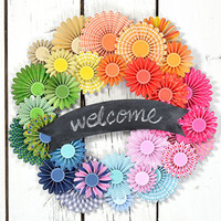 Chalkboard Banner Paper Pinwheel Wreath Kit Multi-colored Wreath