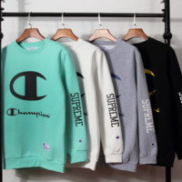 """Champion"" Fashion Casual Print Long Sleeve Pullover Sweater"