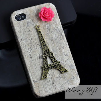 Eiffel Tower Iphone Case iPhone 4 Case, iphone 4 cover, White Wooden Case For iphone 4 & iphone 4S, Apple iPhone 4 Case