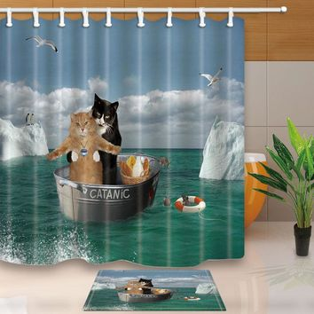 Warm Tour Romantic Cat Polyester Fabric Bathroom Shower Curtain & Bath Mat Set with Hooks