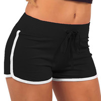 Solid Color Drawstring Waist Yoga Shorts
