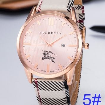BURBERRY Watch Wome's Men Classic Plaid print Watches B-PS-XSDZBSH Rose Gold