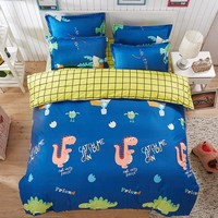 JU Home Textiles Cartoon Style 3/4pcs Bedding Sets Duvet Cover Bed Sheet Pillowcase Bed Linen Boy Girl Child Bedclothes